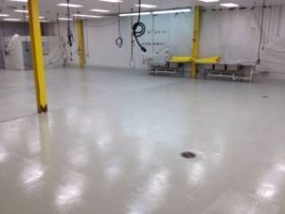 manufacturing facility with polished concrete floor