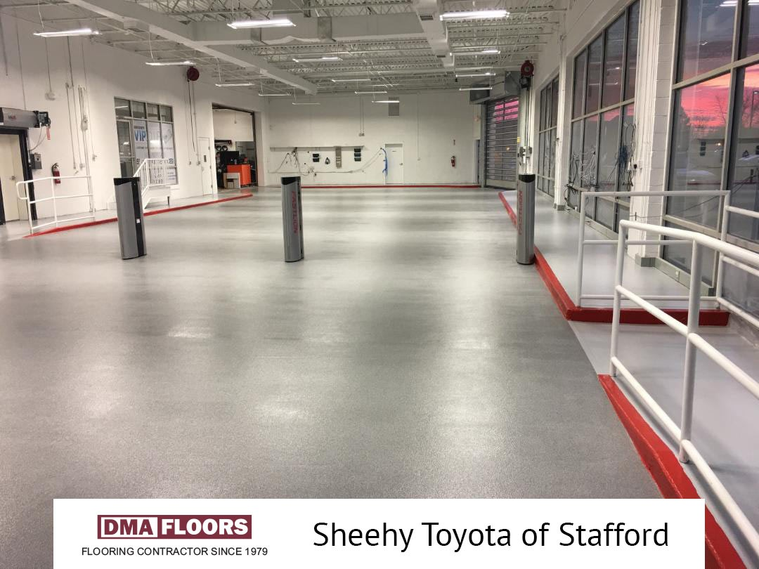 DMA Floors Transforms Service Entry at Sheehy Toyota of Stafford for Durability #dmafloors